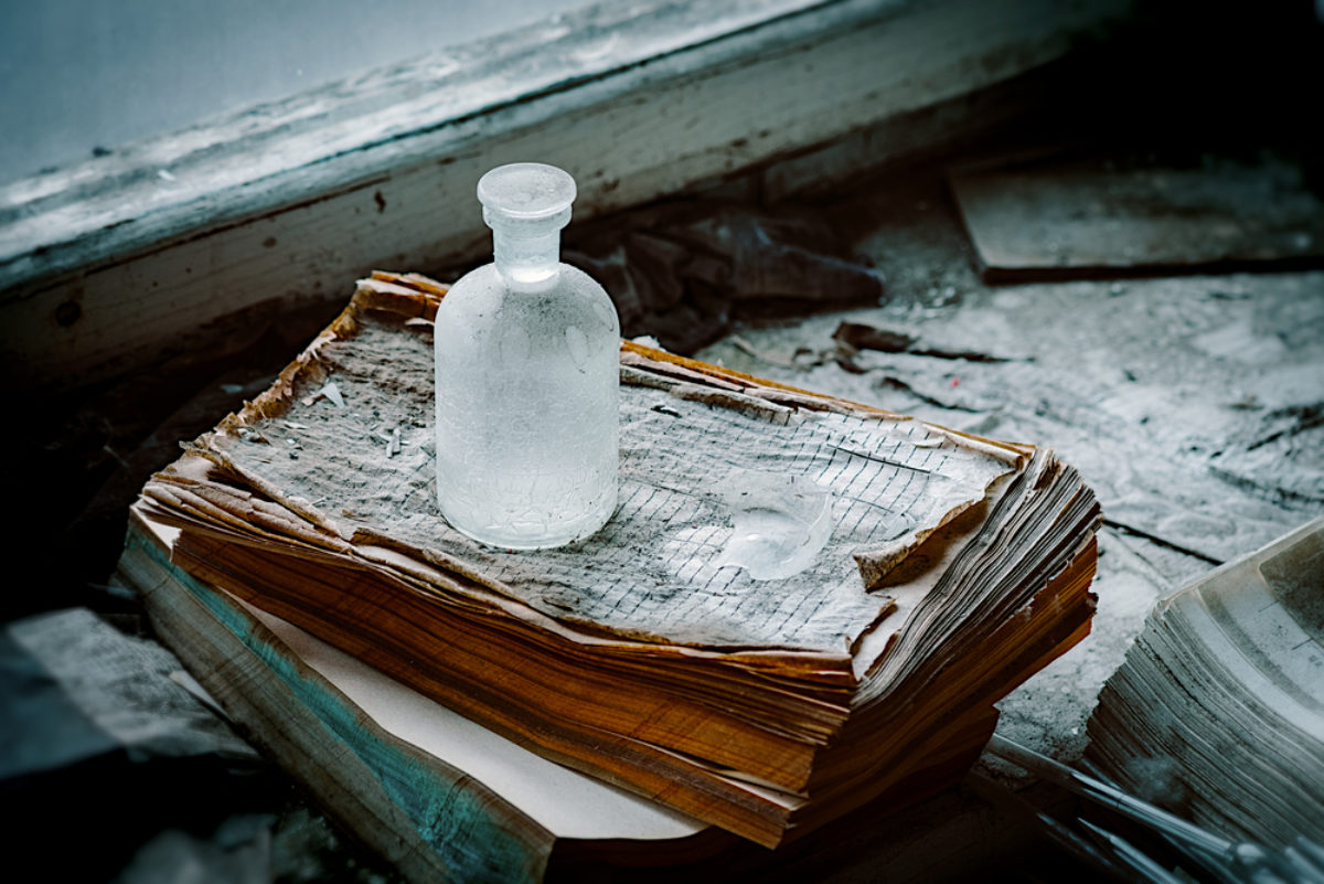 Bottle and books
